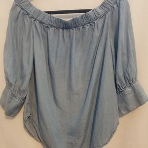 3/4 jean top blouse